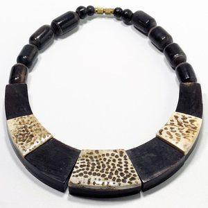 Ethnic Tribal Black White Bib Collar Necklace
